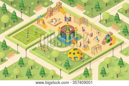 Isometric Playground With Children. Yard With Kids Playing. Park With Sandpit And Seesaw, Sandbox An