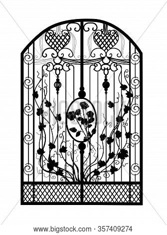 The Gate Forged. Metal Grill. Artistic Forging. Iron. Vector Illustration.