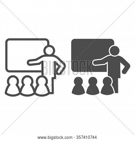 Lecturer Blackboard With Students Line And Solid Icon. Lecture Or Training Lesson Symbol, Outline St