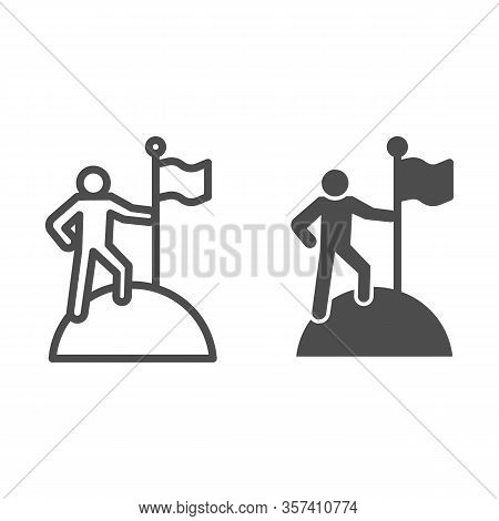 Man On Top Of Mountain With Flag Line And Solid Icon. Discoverer, Victory Person Symbol, Outline Sty