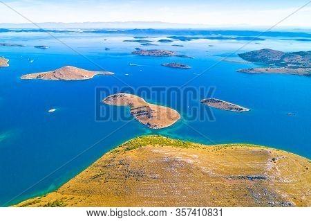 Kornati. Aerial Panoramic View Of Famous Adriatic Sea Sailing Destination, Kornati Archipelago Natio