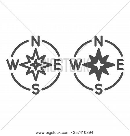 Compass Directions Line And Solid Icon. Compassing Star, Oldstyle Discoverer Item Symbol, Outline St