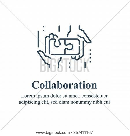 Team Work, Cooperation Or Collaboration, Unity Concept, Employee Engagement, Hand And Puzzle Jigsaw,