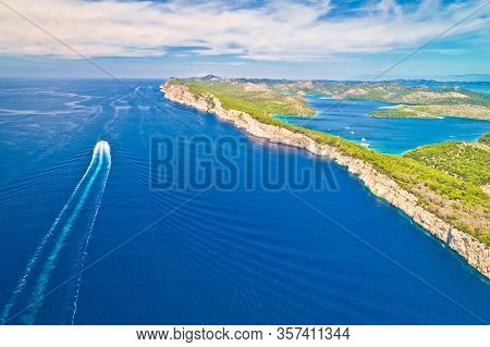Telascica Nature Park Cliffs And Dugi Otok Island Aerial View, Kornati Archipelago National Park Of