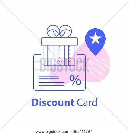 Gift Box And Discount Card, Loyalty Program, Earn Points, Redeem Gift, Shopping Coupon Concept, Vect