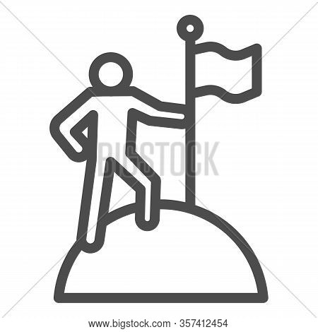 Man On Top Of Mountain With Flag Line Icon. Discoverer, Victory Person Symbol, Outline Style Pictogr