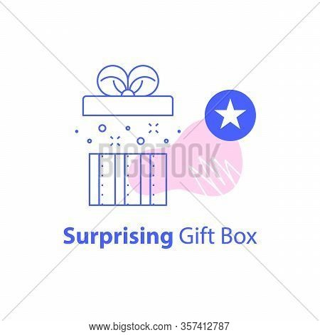Creative Birthday Gift, Open Box, Reward Prize, Earn Points And Redeem Special Present, Giveaway Con