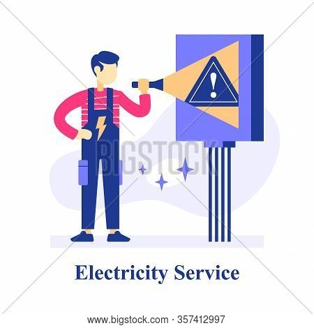 Electrician Holding Flashlight, Switch Room Plan Inspection, Electrical Equipment Or System Maintena