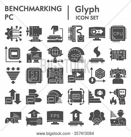 Benchmarking Solid Icon Set. Technology And Computer Signs Collection, Sketches, Logo Illustrations,