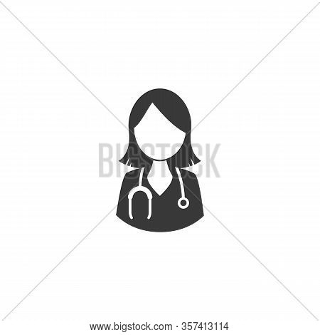 Female Doctor Icon Female Doctor With Stethoscope Around His Neck. Vector Medical Symbol