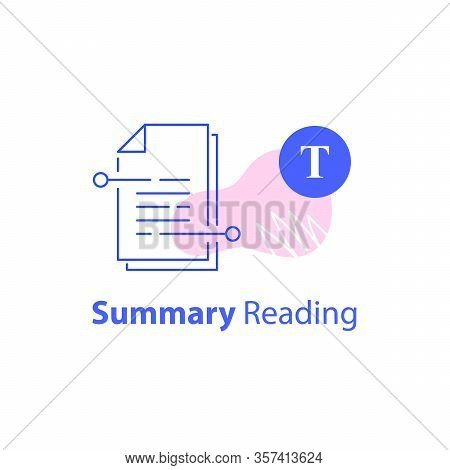 Summary Reading, Short Article, Content Writing, Storytelling Course, Copyright Concept, Contract Te
