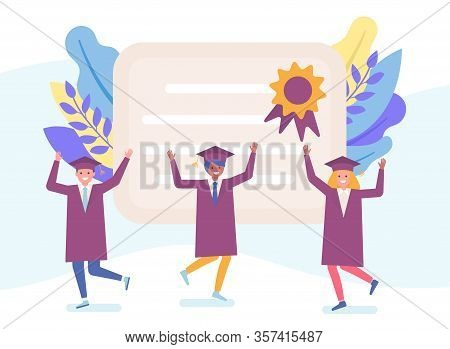 University And College Graduates In Black Gowns And Diploma Happy Characters Learning People Flat Ve