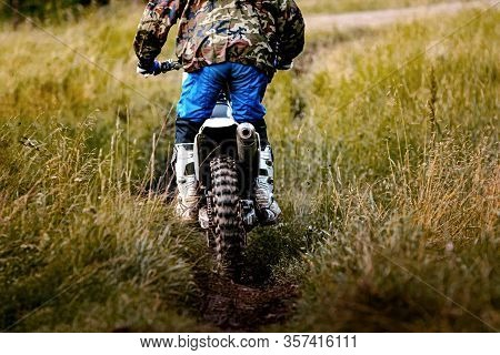 Back Driver On Motorcycle Enduro Riding On A Forest Trail