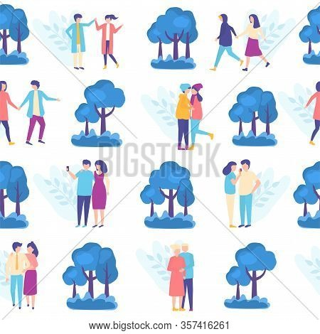 Lovers People In Park Seamless Pattern, Vector Ilustration With Romantic Couples And Trees. Ypung Pe