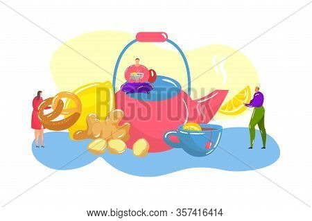 Tea Ceremony With Japanese Huge Teapot, Tea-cup Of Hot Drink, Lemon, Ginger And Tiny People Vector F