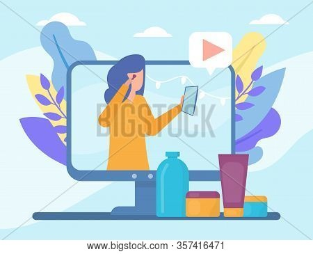 Video Beauty Blog In Internet Online Vector Illustration Live Video Streaming, Social Media Technolo