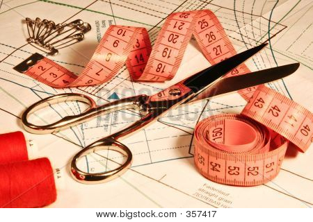 Tailor Clothing Accessory, Scissors Ruler Stitching, Sewing Objects Tool