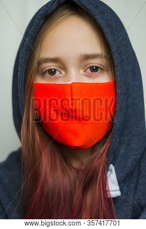 Teenager Wearing Face Mask Coughing. Coronavirus And Flu Epidemic Concept. Girl, Standing In A Mask.