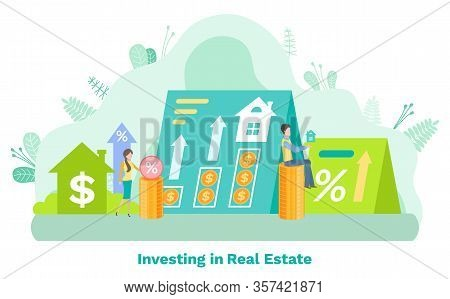 Investing In Real Estate, Man And Woman Selling, Percent And Rising Arrow Icons, Savings For Buying
