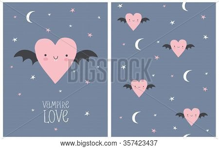 Vampire Love. Halloween Party Vector Illustration And Seamless Pattern. Cute Opink Vampire Heart Wit