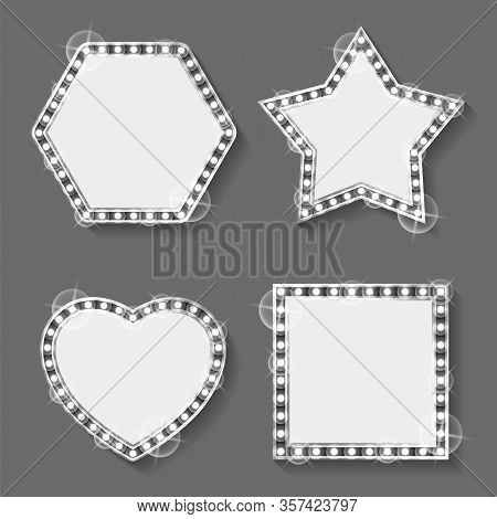 Shiny Frameworks Or Silver Frames, Star And Heart, Square And Hexagon Vector. Metal Photo Framing Wi