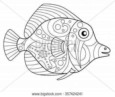 Fish - Ocean Inhabitant Antistress Coloring - Vector Linear Picture For Coloring. Tropical Fish - Fo