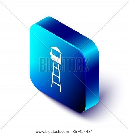 Isometric Watch Tower Icon Isolated On White Background. Prison Tower, Checkpoint, Protection Territ