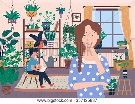 People At Home Vector, Roommates Spending Time In Living Room Flat Style Personage. Lady Reading Boo