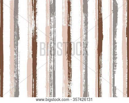 Pain Hand Drawn Grunge Stripes Vector Seamless Pattern. Trendy Maritime Shirt Textile Design. Scratc