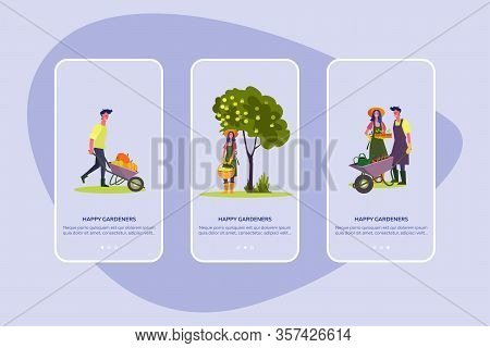 Happy Gardeners Set. Man And Woman Planting, Gathering Harvest, Picking Apples, Fall Landscape . Fla