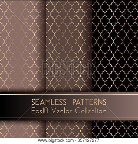 Turkish Or Moroccan Quatrefoil Seamless Patterns Set. Traditional Mosque Patterns In Brown Black Col