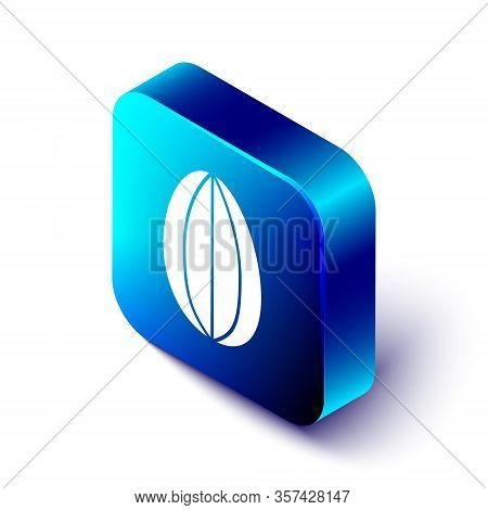Isometric Easter Egg Icon Isolated On White Background. Happy Easter. Blue Square Button. Vector Ill