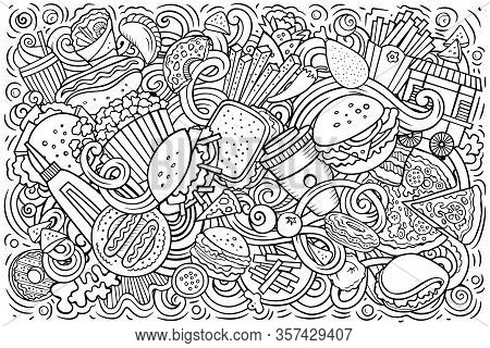 Fastfood Hand Drawn Cartoon Doodles Illustration. Colorful Vector Banner