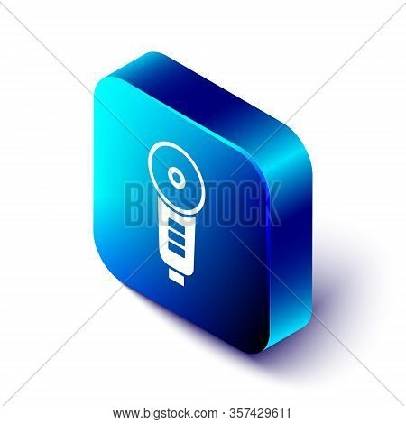 Isometric Angle Grinder Icon Isolated On White Background. Blue Square Button. Vector Illustration