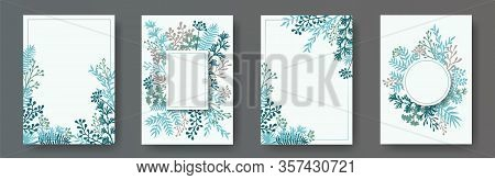 Watercolor Herb Twigs, Tree Branches, Flowers Floral Invitation Cards Collection. Plants Borders Mod