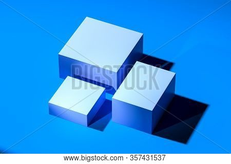 Blue Blank Foursquare Showcases With Empty Space On Blue Background. 3d Rendering. Minimalism Concep