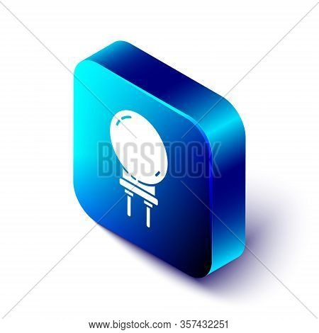 Isometric Light Emitting Diode Icon Isolated On White Background. Semiconductor Diode Electrical Com