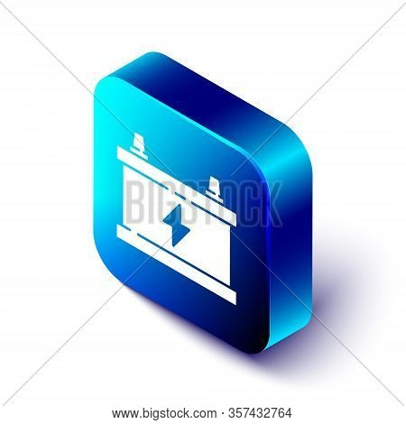 Isometric Car Battery Icon Isolated On White Background. Accumulator Battery Energy Power And Electr