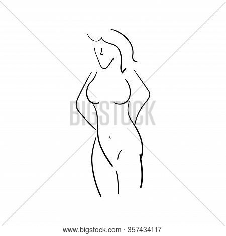 Sketch Outline Of A Naked Woman Is Drawn By Hand. Isolated Vector Illustrations.