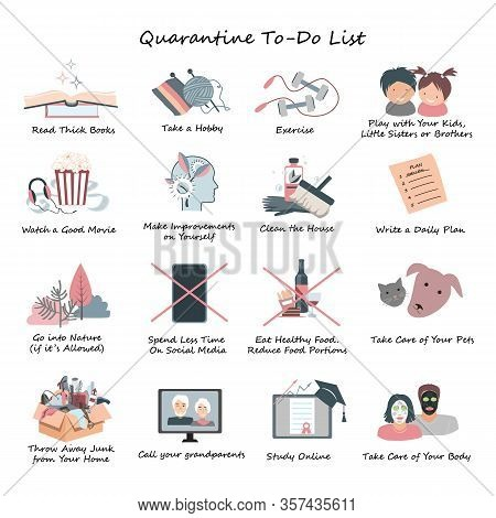 List Of Daily Activities For Covid Or Coronavirus Quarantine. Stay At Home Concept, Daily Routine Wh