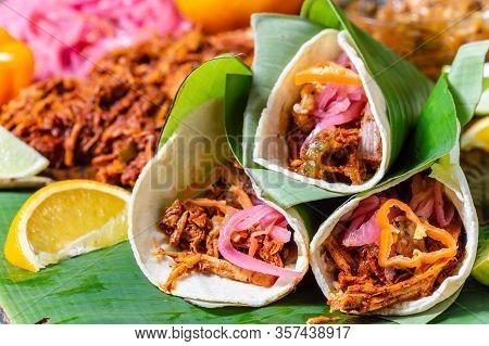 Cochinita Pibil Tacos, Mexican Slow Roasted Marinated Pork