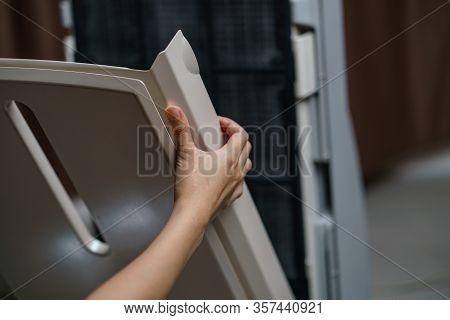 Woman Hand Open Air Purifier For Clean Dirty Air Purifier Hepa Filter.