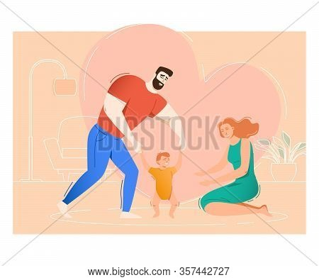 Mother And Father Teaching Son To Walk. Parents Helping Toddler To Make His First Steps. Family Conc