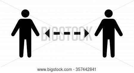 Distance Vector Icon On White Background. Vector Isolated Icon. Social Distancing. Self Quarantine S