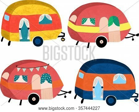 Camper Vans Illustration Icon Set. Hand Drawn Cute Campers Isolated Vector Objects.