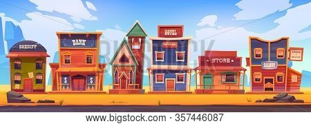 Western Town With Old Wooden Buildings. Wild West Landscape For Game Gui. Vector Cartoon Illustratio