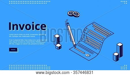 Invoice Isometric Landing Page. Pen Signing Paper Bill For Tax Or Service Payment On Blue Background