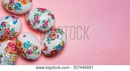 Decoupage Decorated Easter Eggs With Flower Pattern On Pink Background