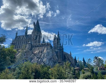 Orlando,fl/usa-3/15/20: Hogwarts Castle In The Wizarding World Of Harry Potter Attraction In Univers