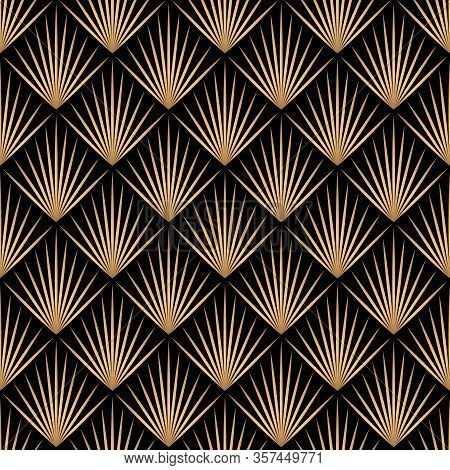 Art Deco Trellis Lines Seamless Pattern Vector Graphic Design. Black And Gold Geometric Art Deco Wal
